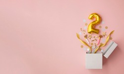 Number 2 birthday balloon celebration gift box lay flat explosion