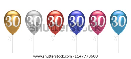 Number 30 birthday balloons collection gold, silver, red, blue, pink. 3D Rendering