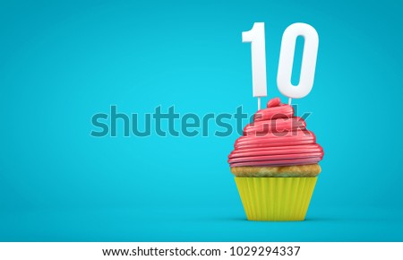 Number 10 birthday celebration cupcake. 3D Rendering ストックフォト ©