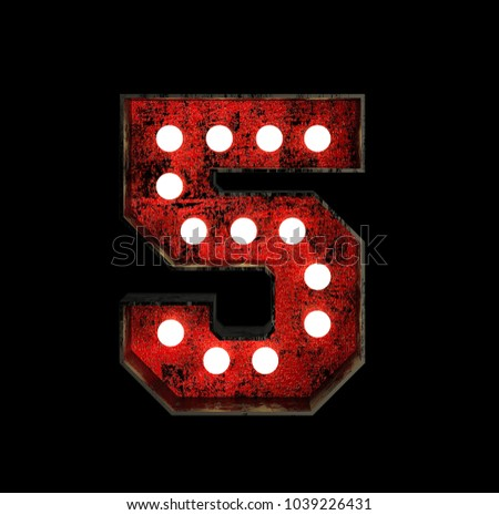 Number 5. Broadway Style Light Bulb Font made of rusty metal frame. 3d Rendering isolated on Black Background
