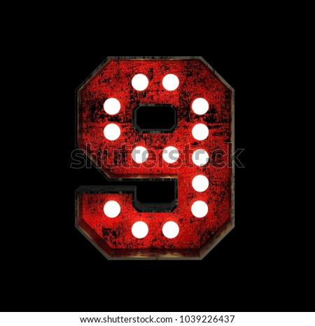 Number 9. Broadway Style Light Bulb Font made of rusty metal frame. 3d Rendering isolated on Black Background