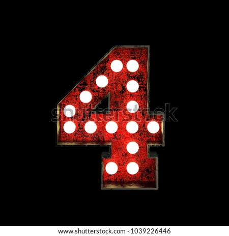 Number 4. Broadway Style Light Bulb Font made of rusty metal frame. 3d Rendering isolated on Black Background