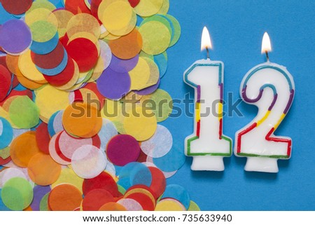Number 12 Celebration Candle With Party Confetti 735633940