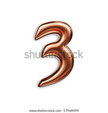 number 3, copper color - stock photo