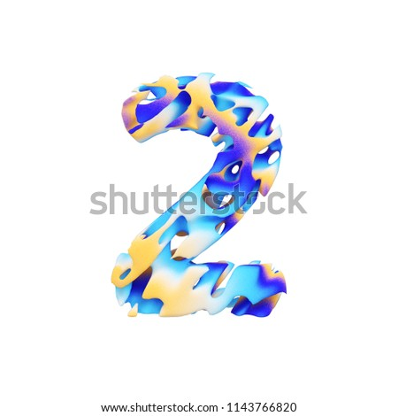 Number 2 3D realistic raster illustration. Exotic number with cracks, scratches effect. Water, aqua waves texture. Isolated design element. Tropical alphabet symbol. Grungy font made of brushstrokes.
