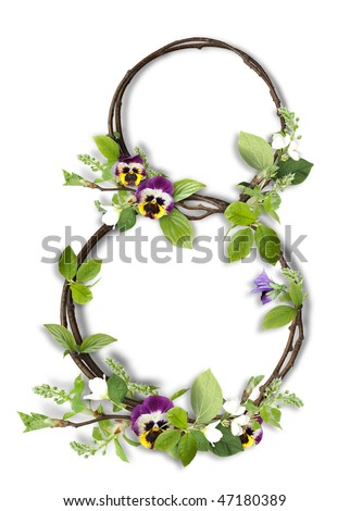 Number eight from branches with leaves and flowers