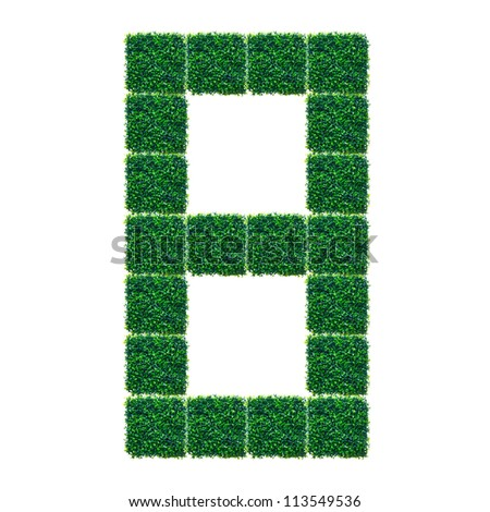 Number eight made from Artificial Grass on white background.