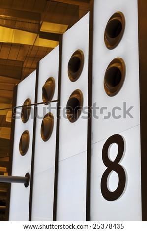 Number eight on illuminated panel