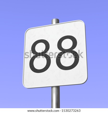 Number 88. Eighty eight. Street sign on blue clear sky background. 3d render