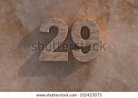 Number 29 embossed or carved from marble placed on a matching marble base - stock photo