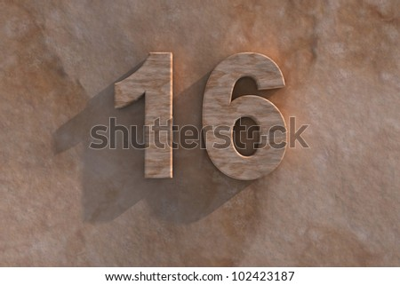 Number 16 embossed or carved from marble placed on a matching marble base