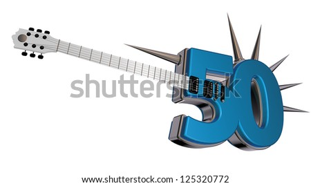 number fifty guitar with prickles on white background - 3d illustration