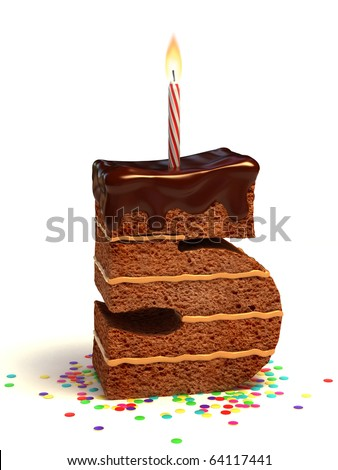 number five shaped chocolate birthday cake with lit candle and confetti