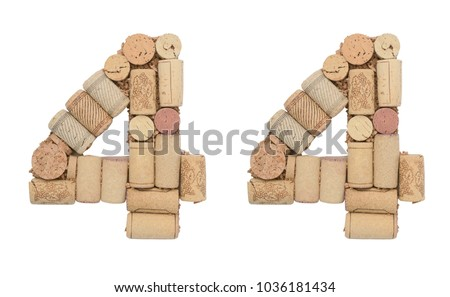 Number 44 forty four made of wine corks Isolated on white background