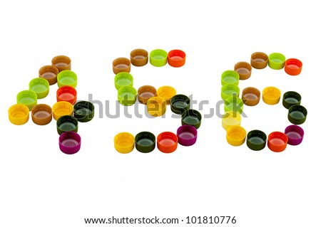 Number four, five, six  from Colorful plastic bottle screw caps