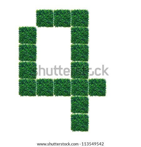 Number Four made from Artificial Grass on white background.