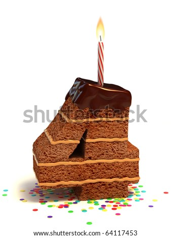 number four shaped chocolate birthday cake with lit candle and confetti