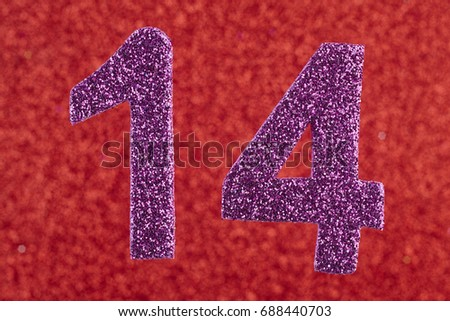 Number fourteen purple color over a red background. Anniversary. Horizontal #688440703