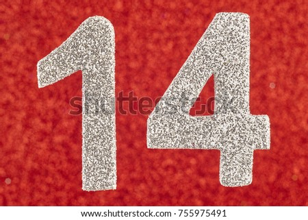 Number fourteen silver color over a red background. Anniversary. Horizontal #755975491