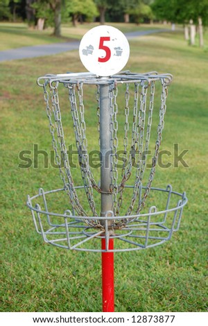 Number 5 Frisbee Golf Hole - stock photo