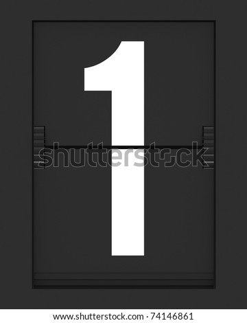 stock photo : Number from a split flap mechanical board. 3D render and part of a series.