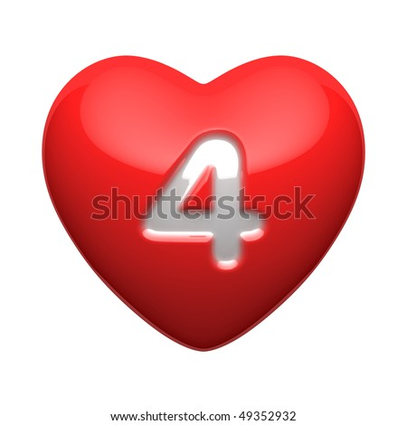 Number 4 from alphabet of hearts. There is a clipping path