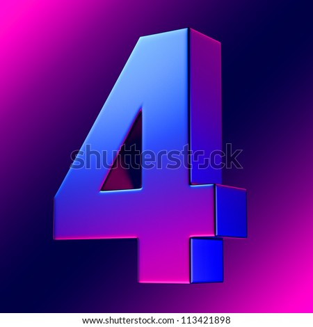 Number 4 from blue-magenta solid alphabet. There is a clipping path