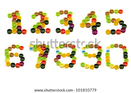 Number from Colorful plastic bottle screw caps