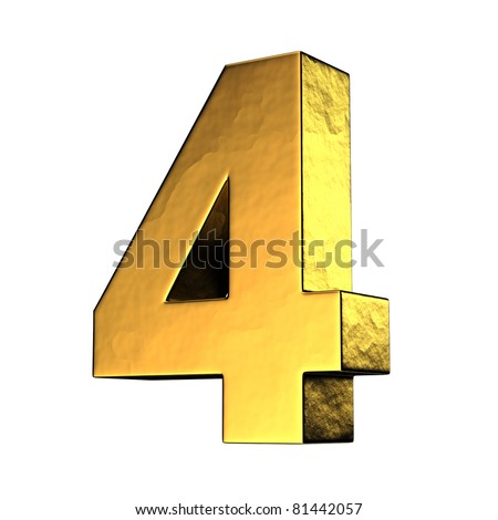 Number 4 from gold solid alphabet. There is a clipping path