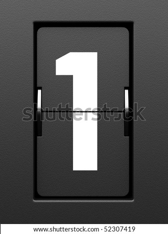 Number 1 from mechanical scoreboard alphabet