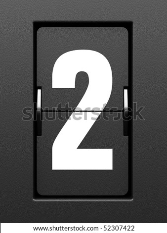 Number 2 from mechanical scoreboard alphabet