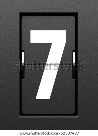 Number 7 from mechanical scoreboard alphabet