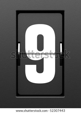 Number 9 from mechanical scoreboard alphabet