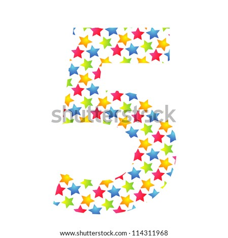 Number 5 from paper small star on white background.
