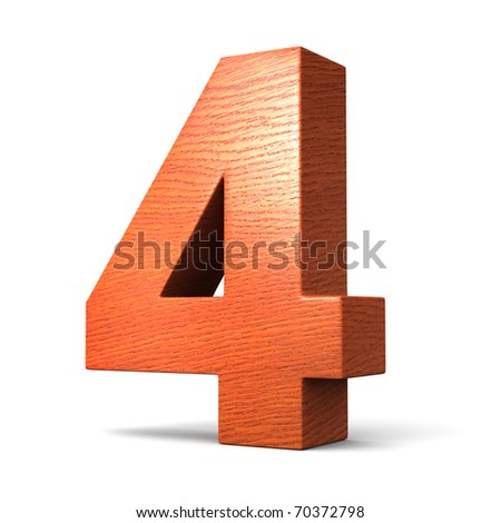 Number 4 from redwood alphabet. There is a clipping path