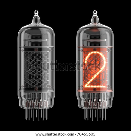 Number 2 from retro-styled digitron alphabet isolated on black. There is a clipping path
