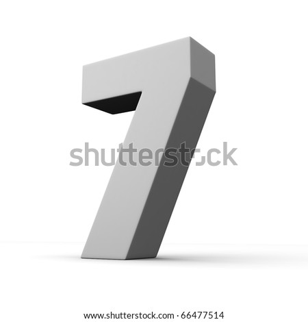 Number 7 from solid alphabet. There is a clipping path - stock photo