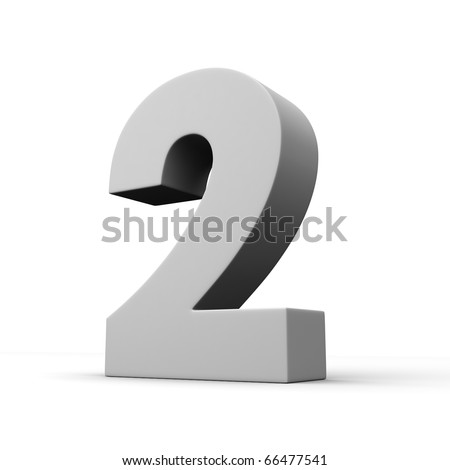 Number 2 from solid alphabet. There is a clipping path - stock photo