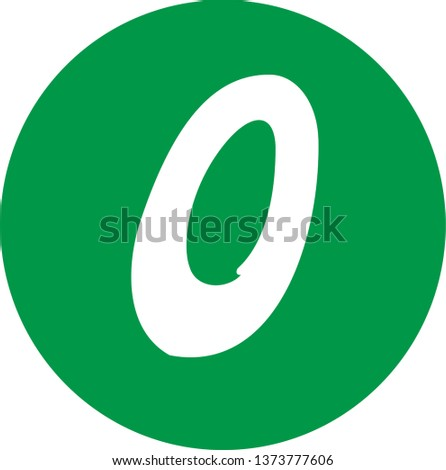 Number 0 - Handwritten (manuscript), calligraphic style,white over green background. For logotype, mark development, general design, cards, folders, advertisements and every typographic needs