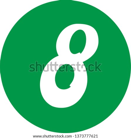 Number 8 - Handwritten (manuscript), calligraphic style,white over green background. For logotype, mark development, general design, cards, folders, advertisements and every typographic needs