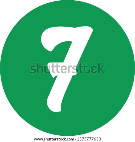 Number 7 - Handwritten (manuscript), calligraphic style,white over green background. For logotype, mark development, general design, cards, folders, advertisements and every typographic needs