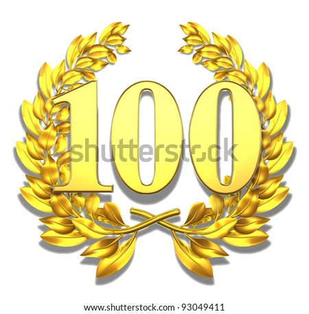 Number hundred Golden laurel wreath with the number hundred inside