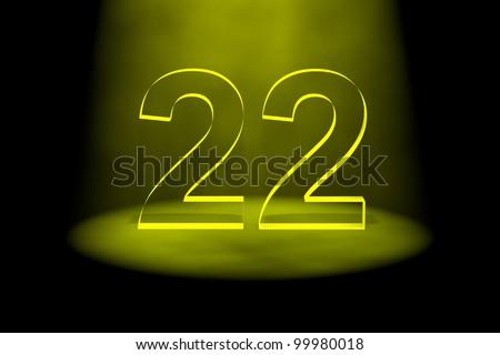 Number 22 Illuminated With Yellow Light On Black ...