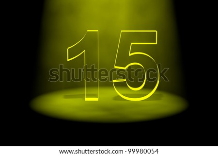 Number 15 illuminated with yellow light on black background
