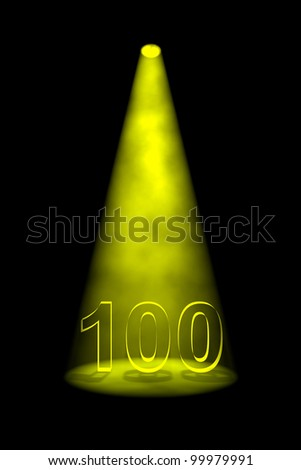 Number 100 illuminated with yellow spotlight on black background
