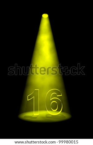 Number 16 illuminated with yellow spotlight on black background