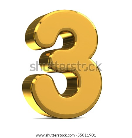Number 3, in gold metal on a white isolated background