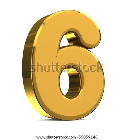 Number 6, in gold metal on a white isolated background