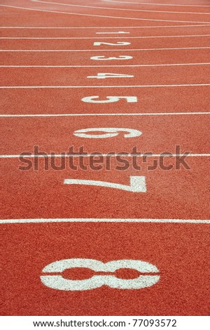 Number Lanes  At The Starting Point  Of A Running  Track