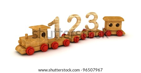 Number learning on toy train isolated on white background.
